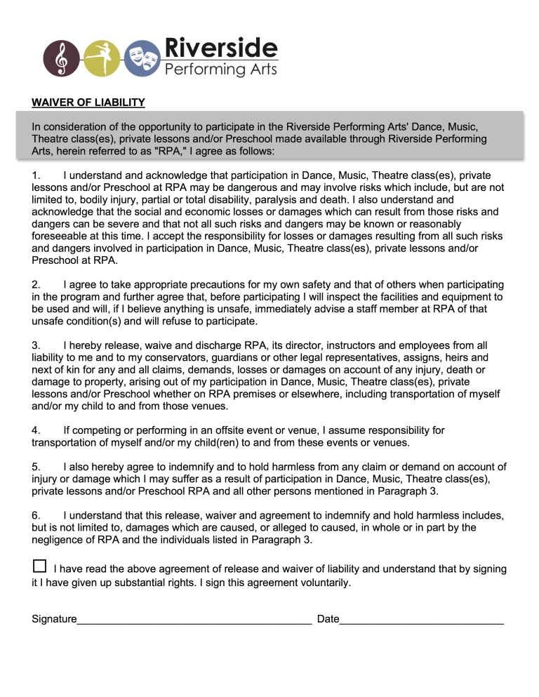 WAIVER OF LIABILITY POLICIES pg1
