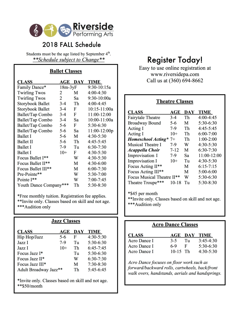 Fall 2018 schedule pg 1